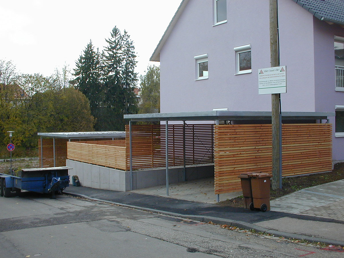 stahl carport und holz sichtschutz in schwenningen. Black Bedroom Furniture Sets. Home Design Ideas