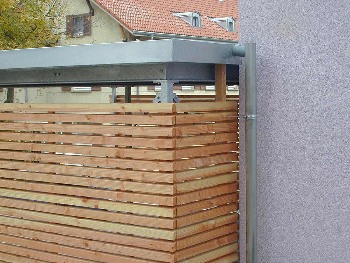 stahl carport und holz sichtschutz in schwenningen. Black Bedroom Furniture Sets. Home Design Ideas
